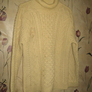 Vintage 1970's Gaeltarra Irish FISHERMAN hand knit wool cardigan sweater Ireland sz 38 -97cm unisex
