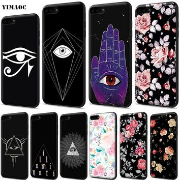 YIMAOC Pyramid All Seeing Evil Eye Silicone Soft Case for iPhone XS Max XR X 8 7 6 6S Plus 5 5S SE