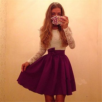 Summer New Arrival Sexy Casual Women Long Sleeve Sashes Crochet Lace Party A-line Dress 2017 Patchwork Mini Skater Dresses