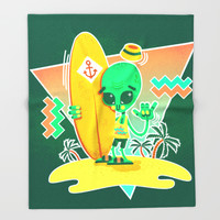 Alien Surfer Nineties Pattern Throw Blanket by Chobopop