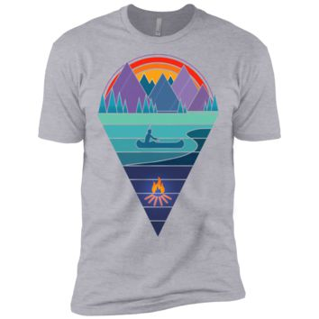 vintage native american canoe by the mountain lake matching family T-Shirt