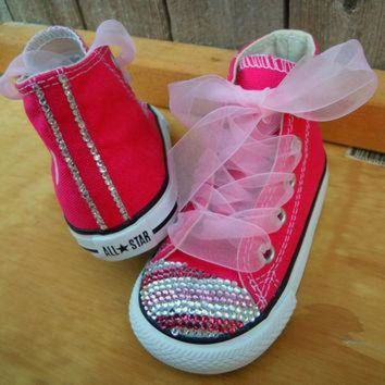 ESBONB Pink Striped Bling Converse Chuck Taylors by MySweetBirdBoutique