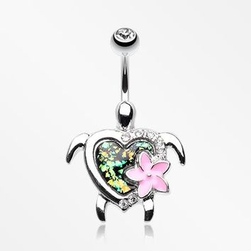 Hawaiian Flower Turtle Opal Sparkle Belly Button Ring