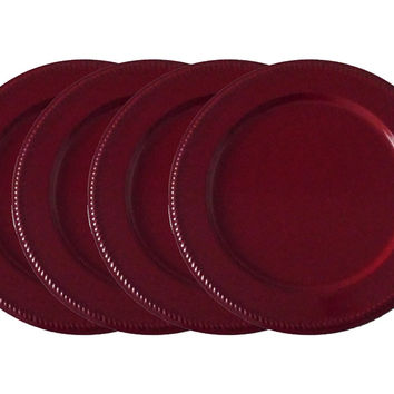 "Wedding Charger Plates 13"" Round, Embossed on Border with Unique Beaded Design, Burgundy Color, Set of 4 Plates, Made of Heavy Metal Sheet Powder Coated"