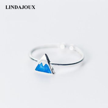 LINDAJOUX 925 Sterling Silver Blue Ice Mountain Charm Open Ring For Women S925 Resizable Wedding Engagement Rings DropShipping