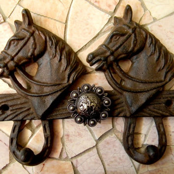 Horseback Riding Cowboy Cast Iron Double Wall Hook, Lucky Horseshoe Horse Lover, Kids Room Home Decor, Country Girl, Country Boy Wall Art
