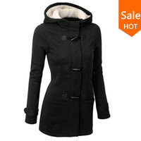 Hooded Horn Button Coat Women Winter Parkas Sport