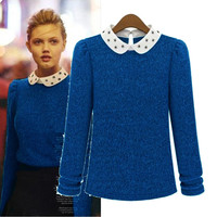 Blue Long-Sleeve Pattern Collared Sweater
