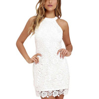 Wedding Party Night Club Halter Neck Bodycon Lace Dress