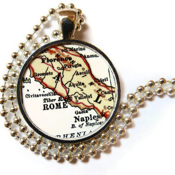 Rome, Naples, Florence map necklace pendant, Italy vintage map jewelry