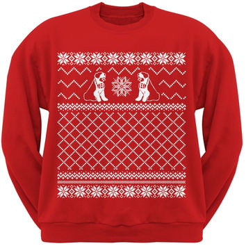 Saint Bernard Ugly Christmas Sweater Red Crew Neck Sweatshirt