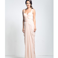 Petal Pink Lace Draped Gown