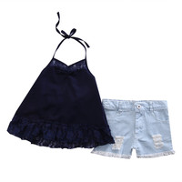 2Pcs Lace denim Set baby clothing Newborn Kids Baby Girls Outfits Clothes sleeveless Top+Jeans shorts Set 2-7Y