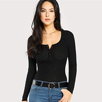 V Neck Press Buttoned Plain Workwear Top Office Ladies Long Sleeve Stretchy Slim Women Casual T-shirt