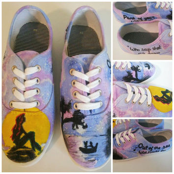 Little Mermaid Custom Painted Shoes - Ariel Disney hand painted shoes - VANS CONVERSE TOMS keds Little Mermaid shoes