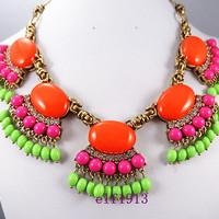 J. Crew Style Inspired Green Tassel Bubble  Necklace ,Statement Necklace,Pink Bead necklace bridesmaid gifts, bib necklace/ Orange