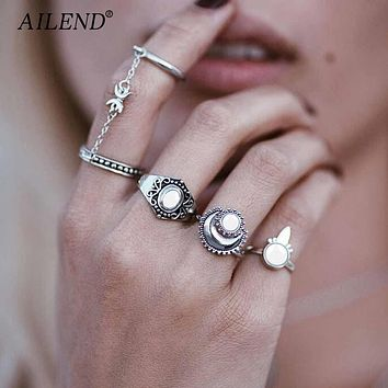 AILEND New Fashion Boho National Style Jewelry Retro Bohemian Siamese Chain Mittens 4pcs/Set Rings Sun Moon Silver gold Ring