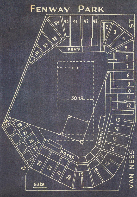 Vintage boston red sox fenway park from clavininc on etsy for Where to buy blueprint paper
