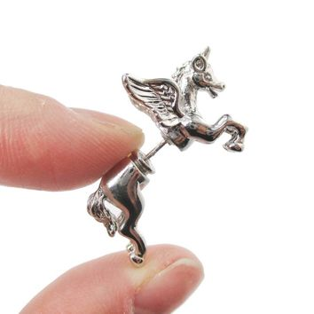 Fake Gauge Earrings: Mythical Unicorn Animal Front and Back Stud Earrings in Shiny Silver