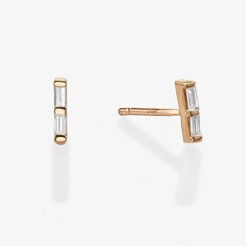 Duo Baguette Diamond Stud Earrings, Double Baguette Cut Diamond,  14k Solid Gold Earrings, Dainty Diamond Stud Earrings, Gift for her