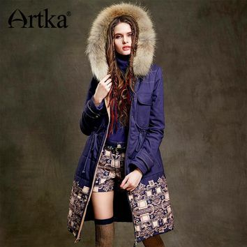 Artka Fur Parka Women Winter Down Jacket 2017 Warm Parka Ethnic Print Coat Female Long Raincoat Drawstring Waist Jacket MA15157D