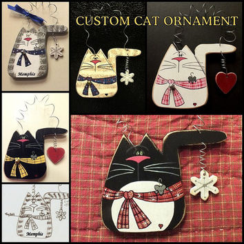 CUSTOM CAT ORNAMENT with Charm, A Caricature of Your Cat