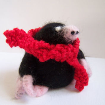 Needle Felted Mole with Red Windswept Scarf Animal by Knittynudo