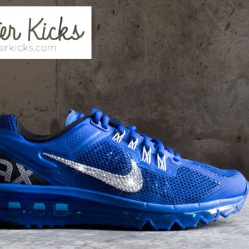 Women's Nike Air Max 360 Running Shoes By Glitter Kicks - Customized With Swarovski Crystal Rhinestones - Blue