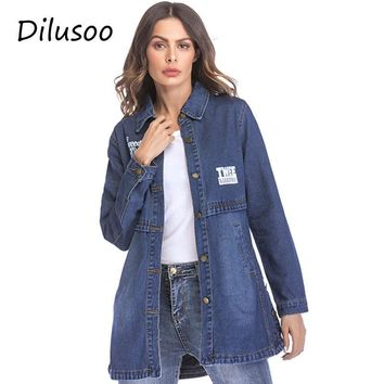 Trendy Dilusoo Women Denim Long Jackets Letter Painting Basic Coats Europe Autumn Denim Coats Women Streetwear Loose Casual Winter Coat AT_94_13