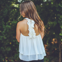 Ruffled-Back Gameday Top in White