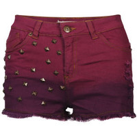 Brave Soul Women's Dip Dye Studded Denim Shorts - Wine