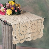 Vintage Inspired Hand Crocheted Beige Table Runner 16X45 Rectangular | fenncocom - Home & Garden on ArtFire