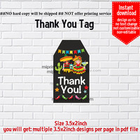 Instant Download, Mexican party, #676 gift tag, thank you  fiesta party, Thank you TAG, 3.5x2inch printable, non-editable NOT CUSTOMIZABLE