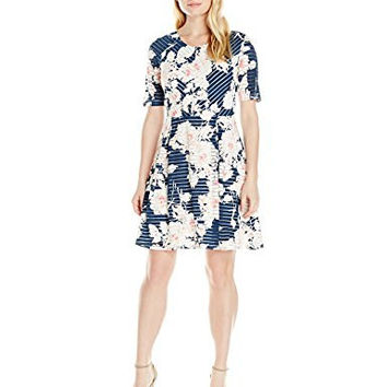 NY Collection Women's Petite Printed Elbow Sleeve Scoop Neck Fit and Flare Dress, Navy Ink Poppy, Petite/Medium