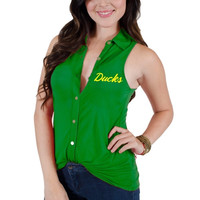 Oregon Ducks Women's Lily Button Down Blouse - Green
