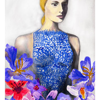 Blue Valentino Gown Floral Giclee Print Watercolor Original Fashion Illustration Artwork