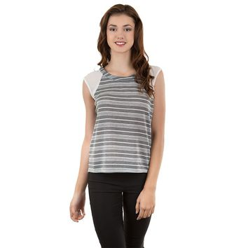 IZ Byer California Striped Mixed Media Tee - Juniors, Size: