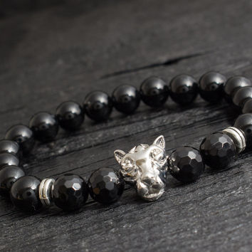 Black onyx beaded silver Leopard head stretchy bracelet with faceted beads custom made yoga bracelet