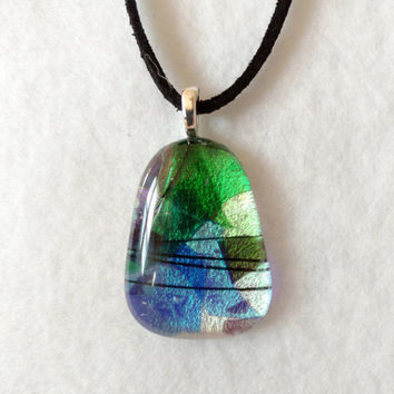Dichroic Fused Glass Pendant - Glass Necklace - Fused Jewelry - Dichroic Jewelry - Girlfriend Gift - Mothers Day Gift