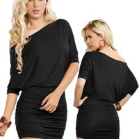 Sexy Black Off Shoulder Short Sleeve Mini Dress - Medium