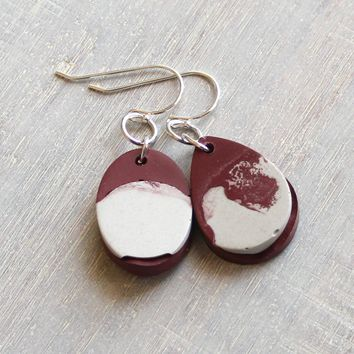 Minimalist earrings - burgundy and white