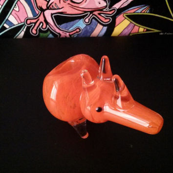 Cute adorable Glass pipe Rhino - orange smoking bowl