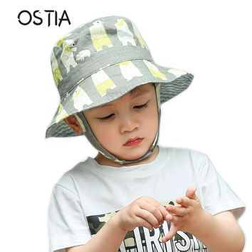 2018 Cartoon Kids Bucket hats Baby Summer Hat Cotton Children Boys Girls Bucket Sun Hat Toddler Child Summer Cap H46