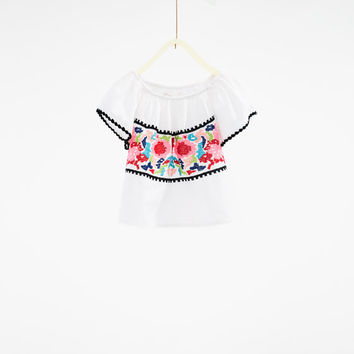 Embroidered top - SHIRTS AND BLOUSES-GIRL | 4-14 years-KIDS | ZARA United States