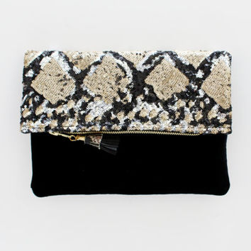 SAPHIRE 6 / Gold and silver sequin & Black velvet folded clutch bag - Ready to Ship