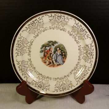 Taylor Smith Taylor Victorian Salad Dessert Plate 22K Gold Warranted Vintage TST #9511 Gold Trim Floral Border Victorian Colonial Cameo