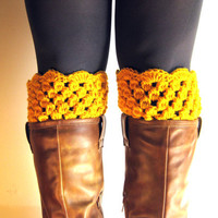 Boot Cuffs Yellow Lace Boot Toppers Mustard Bootcuffs Crochet Leg Warmers Sock Tops