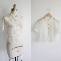 Vintage 60s Sheer Chiffon Pin Tuck Blouse | small