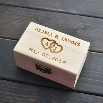 Wooden Personalized Wedding Ring Bearer Box
