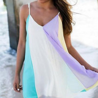 SNOW SPINS CONDOLE RAINBOW BEACH DRESS DRESS